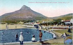 Children's bathing pool and Lion's Head, Camps Bay Old Pictures, Old Photos, Vintage Photos, Nordic Walking, Camps, Cape Town, Lions, South Africa, Bathing