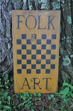 Mouse over image to zoom                                                                                                                              Have one to sell? Sell it yourself     Ex Lg Mustard Wood Sign Folk Art Game Board Country Primitive Rustic