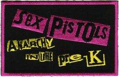 """PERFECT CHEAP GIFT FOR THE PUNK ROCK PARENT!  Can sew or iron on to clothing, diaper bags, bibs, strollers, and more.  Perfect for babies and toddlers!   SEX PISTOLS Anarchy in the Pre-K Patch (5.375"""" x 1.125"""") - $3.98 - 1-LPT-16147"""