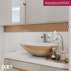 Banheiro super contemporâneo em rose gold, da linha Doka Cores 2017. Revestimento Tessere da @ritalliorevestimentos e cuba Victoria+Albert Napoli
