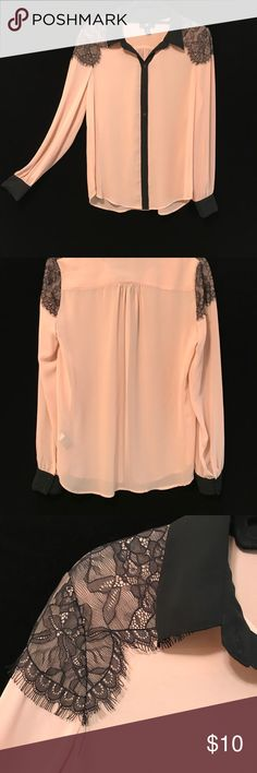 Blouse Semi sheer blush colored blouse with black lace on shoulders and black collar, placket, and cuffs. Iz Byer Tops Blouses