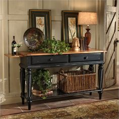 pics of buffet table in black finish | Wilshire Sideboard Table in Antique Black by Hillsdale