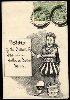 1909 (Jan. 9th) pen and ink illustrated envelope from the same correspondence, sent from Leeds to Sutton on Derwent with 1902–10 1/2d. pair, the superbly executed illustration of a somewhat bizarre messenger with a ''G.P.O.'' satchel resting by his foot