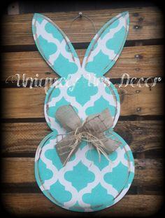 Bunny Door Hanger Easter Door Hanger Rabbit by UniquelyUrsDecor