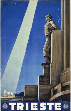 Trieste Vintage Italian Travel Poster. A statue of a man on the Faro Della Vittoria lighthouse. In the distance, light from the moon illuminates the Miramare Castle in Trieste. Vintage Italian travel,