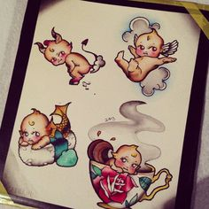 A print of four Kewpies done in traditional tattoo style.