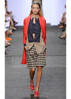 NYFW Spring 2013 Runway... tan and orange and navy.  what a fun color combo for a nursery.