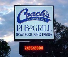 Full Color LED Sign, Coach's All American Pub and Grill
