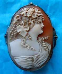 Mouse over image to zoom  Fine Antique Carved Shell Cameo Brooch Pendant of Bacchante in 14k White Gold
