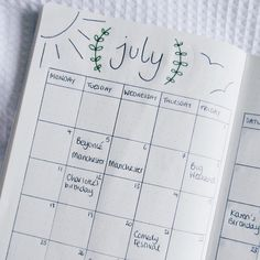 July monthly spread in my new bullet journal! Have definitely got the BuJo bug!