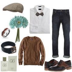Totally dashing guy's #FirstDate #outfit, complete w/flowers for his date