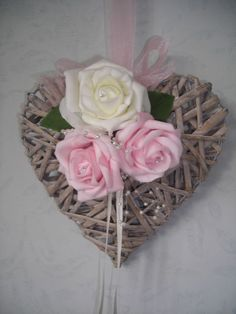 Wicker Heart Rose Wedding Flower Bouquet Posy Bridesmaids Flowergirl Shabby Chic | eBay
