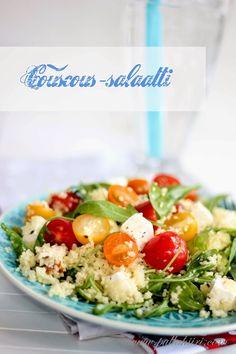 Pullahiiren leivontanurkka: Värikäs juhlapöydän couscous-salaatti Couscous, Cobb Salad, Salad Recipes, Potato Salad, Potatoes, Ethnic Recipes, Party, Buffets, Food