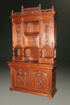 19th century French Henry II cupboard, hand carved walnut , circa 1870. #antique #cupboards