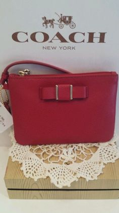New Coach Red Bow leather wristlet wallet bag F52629. New with tag,box,receipt. in Handbags & Purses   eBay
