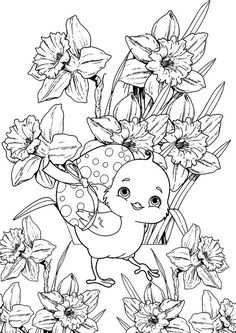 Easter Coloring Pages, Free Adult Coloring Pages, Coloring Book Pages, Free Coloring, Coloring Pages For Kids, Easter Templates, Easter Printables, Easter Art, Easter Crafts