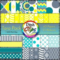 Are you looking for a fun combination of papers and ribbons to create your amazing resources?  Are you a new seller that needs a quick package to get you started?  Then this Tara Pack is for you!You will receive the following in 4 coordinating colors 6 Mixed color papers. 14 Grey and White Papers. 14 Turquoise and White Papers. 14 Yellow and White Papers.  23 Ribbons - 7 patterns in 3 colors plus 2 White Ribbons.