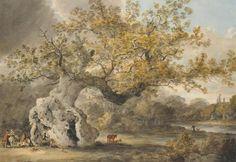 Julius Caesar Ibbetson (1759-1817) ``Hatfield Broad Oak`` Pen & ink and watercolour, with scrat