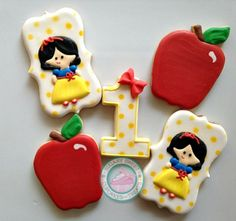 Snow White inspired Birthday Cookie set, perfect for that sweet little princess on her big day!Sweet set is handcrafted and carefully decorated just for you!Cookie set comes with 4 of each design:4. Snow White, approx. 4.24 inches high4. Number ones with fondant bow, approx. 3 inches4. Red Apples, approx. 3 inches Each cookie comes individually wrapped and sealed for max protection and freshness.If you are looking for more or a specific color request, please ...