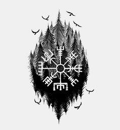 Norse Mythology Tattoo, Norse Tattoo, Celtic Tattoos, Viking Tattoos, Viking Tattoo Symbols, Viking Compass Tattoo, Armor Tattoo, 42 Tattoo, Body Art Tattoos