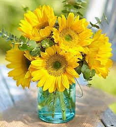 Sunflower and eucalyptus, blue mason jar Beautiful Flower Arrangements, Floral Arrangements, Beautiful Flowers, Sunflower Pictures, Sunflower Art, Good Morning Flowers, Arte Floral, Flower Images, Mellow Yellow
