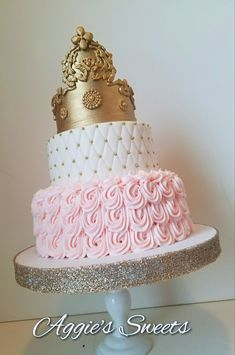 Pink and gold princess baby shower cake