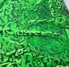 """Green Apple Scroll - Hand Dyed Silk Velvet (45"""") – Prism Silks"""