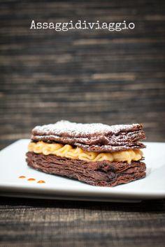 Millefoglie al cioccolato con caramello salato