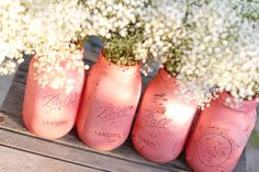 Distressed Mason Jars / Shabby Chic Decor Painted by TheRocheShop, $40.00