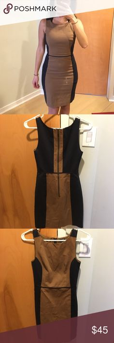 Club Monaco Pencil Dress Size 00 Navy and Tan color block pencil dress from Club Monaco. Size 00. Super flattering fit. Never been washed only dry cleaned. Doesn't fit me the same anymore Club Monaco Dresses
