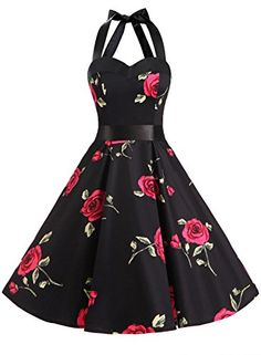 Dresstells Vintage 1950s Rockabilly Polka Dots Audrey Dress Retro Cocktail Dress Red Flower M