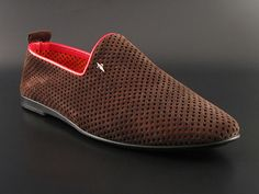 Cesare Paciotti Men's Shoes Brown Perforated Suede