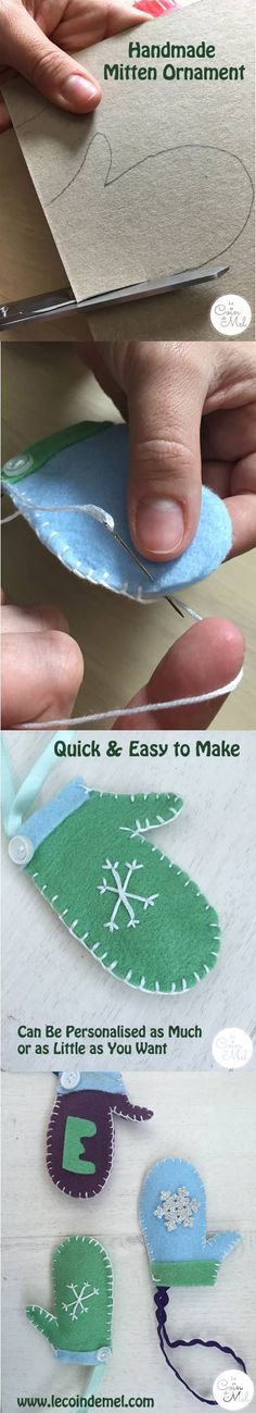 Easy Christmas Crafts - Make a Personalised Mitten Ornament - Quick & Easy Handmade Present