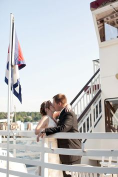 Hey look, our wedding picture is on the Lake Geneva Cruise Line board.