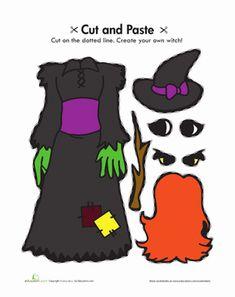 Halloween Kindergarten Paper Projects Worksheets: Halloween Witch