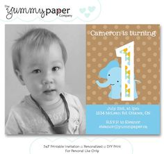 Jungle Elephant Birthday Invitation  Custom by yummypaper on Etsy, $15.00
