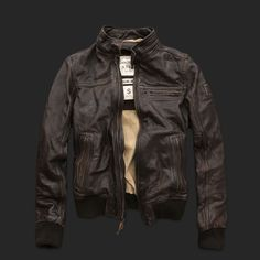 Abercrombie Fitch Rollins Cafe Racer Motorcycle  Leather Jacket