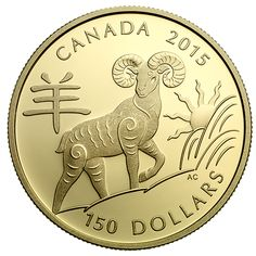 18 karat Gold Coin - Year of the Sheep - Mintage: Silver Investing, Canadian Coins, Valuable Coins, Coin Design, Gold And Silver Coins, Rare Coins, Coin Collecting, Precious Metals, Sheep