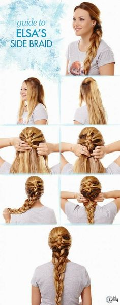 >>>Visit>> Guide to Elsas Side Braid Disney Frozen Hair Tutorials – Elsa and Anna Hacks. Step by Step Tutorials for Side Braids Coronation Buns and Royal Updos on Frugal Coupon Living. Frozen Hairstyles, Princess Hairstyles, Updo, My Hairstyle, Hairstyle Ideas, Braided Hairstyles Tutorials, Trendy Hairstyles, Braid Tutorials, Beauty Tutorials