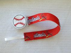 St. Louis Cardinals Baseball Universal Pacifier Clip With Heart or Round Shaped Baseball Feltie for Baby Girl or Baby Boy on Etsy, $6.49