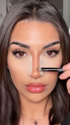 Nose Makeup, Contour Makeup, Prom Makeup, Makeup Tutorial Eyeliner, Makeup Looks Tutorial, Gorgeous Makeup, Pretty Makeup, Nose Contouring, Face Contouring Tutorial