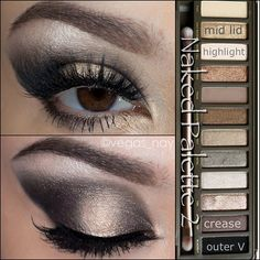 Steps using the UD Naked Palette 2✨ 1.) prime eye with UD primer potion & apply HALF BAKED to middle lid and lower/inner lash line 2.) apply BUSTED to cease and outer corners of lid 3.) highlight with BOOTYCALL on brow bone 4.) blend in BLACKOUT to outer crease, forming a V shape & smudge on bottom lash line 5.) apply mascara to natural lashes