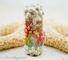 """Handmade Lampwork Focal """"Tide Pool Reef"""" Bead by Lori Bergmann"""