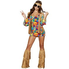 Hippie Hottie Sexy Adult Costume ($70) ❤ liked on Polyvore featuring costumes, halloween costumes, multicolor, white costume, sexy hippie costume, 70s costumes, 70s hippie costumes and hippy costume