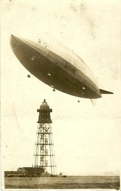 Postcard of the airship R101 taking off from the Cardington mooring mast