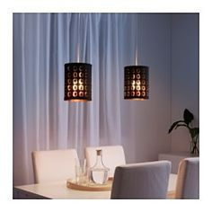 IKEA - NYMÖ, Lampeskærm, Lav din egen personlige loft- eller bordlampe ved at kombinere lampeskærmen med et ledningssæt eller en fod efter dit valg.Skaber et dekorativt lysmønster i rummet, når lyset skinner igennem den perforerede skærm.