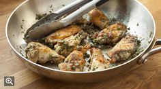 Chicken Wings with Brown Butter-and-Spinach Sauce