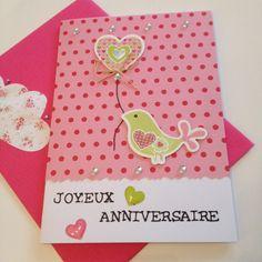 Jolie carte d'anniversaire fille oiseau et cœur originale et unique rose et vert et son enveloppe inédite : Cartes par la-fabrik-de-mina-leelo