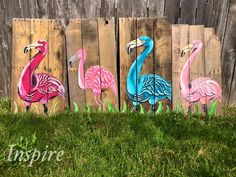 Flamingo Hand Painted Pallet Wood Signs