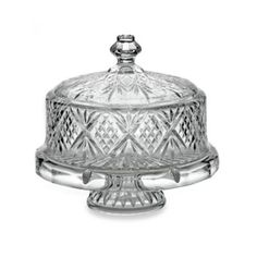 Godinger Dublin Crystal 4- in -1 Footed Cake Plate with Dome Cover - BedBathandBeyond.com